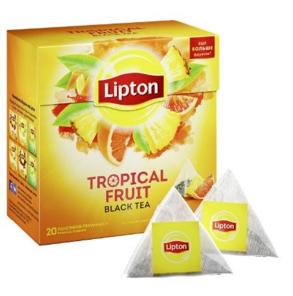 Черный чай Lipton Tropical Fruit в пирамидках 20 пак оптом